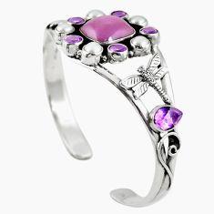 Natural purple phosphosiderite (hope stone) 925 silver adjustable bangle m44762