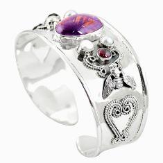 Natural purple cacoxenite super seven 925 silver adjustable bangle m44766