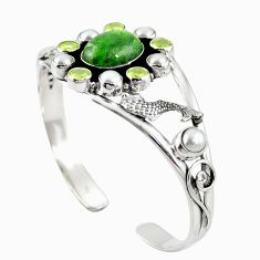 925 silver natural green chrome diopside adjustable bangle jewelry m44767