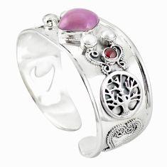 Natural purple phosphosiderite (hope stone) 925 silver adjustable bangle m44768