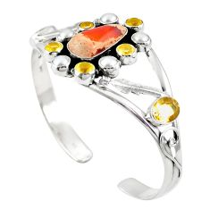 Natural multi color mexican fire opal 925 silver adjustable bangle m44772
