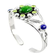 Natural green chrome diopside 925 silver adjustable bangle m44774