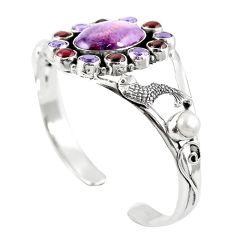 Natural purple cacoxenite super seven 925 silver adjustable bangle m44776