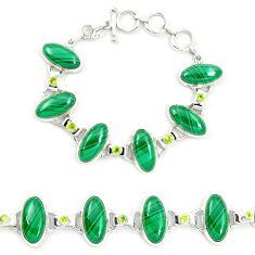 Natural green malachite (pilot's stone) 925 silver tennis bracelet m46862