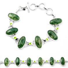 Natural green moss agate peridot 925 sterling silver tennis bracelet m47541