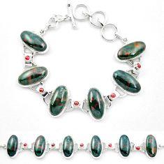 Natural green bloodstone african (heliotrope) 925 silver tennis bracelet m47542