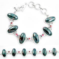 Natural green bloodstone african (heliotrope) 925 silver tennis bracelet m47543