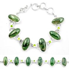 925 sterling silver natural green moss agate peridot tennis bracelet m47544