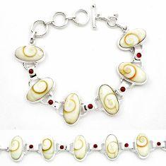 Natural white shiva eye garnet 925 sterling silver tennis bracelet m47545