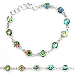 925 silver natural green abalone paua seashell enamel tennis bracelet m47555