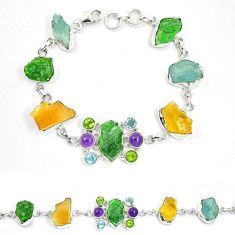 Green chrome diopside rough citrine rough 925 silver bracelet m47821