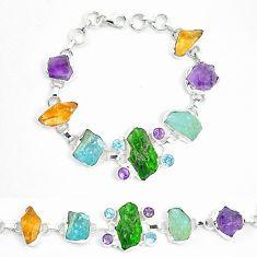 Green chrome diopside rough citrine rough 925 silver bracelet m47822