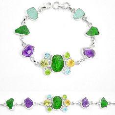 Green chrome diopside rough amethyst rough 925 silver bracelet m47823