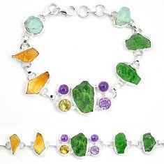 Green chrome diopside rough citrine rough 925 silver bracelet m47824