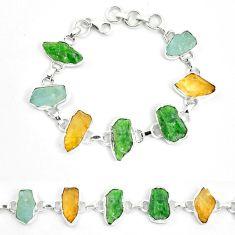 Green chrome diopside rough citrine rough 925 silver bracelet m47826