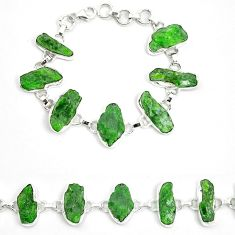 Green chrome diopside rough 925 sterling silver bracelet jewelry m47827