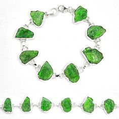 Green chrome diopside rough 925 sterling silver bracelet jewelry m47828