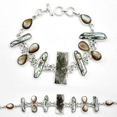 Natural grey meteorite gibeon moonstone 925 silver bracelet m49180