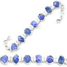 Natural blue tanzanite rough 925 sterling silver tennis bracelet m52714