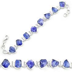 Natural blue tanzanite rough 925 sterling silver tennis bracelet m52715