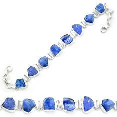 Natural blue tanzanite rough 925 sterling silver tennis bracelet m52717