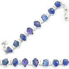 Natural blue tanzanite rough 925 sterling silver tennis bracelet m52718