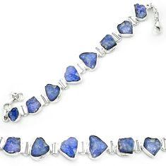 Natural blue tanzanite rough 925 sterling silver tennis bracelet m52719