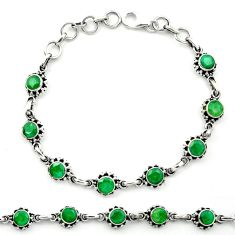 Natural green emerald 925 sterling silver bracelet jewelry m53591