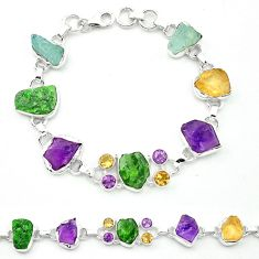Green chrome diopside rough aquamarine rough 925 silver tennis bracelet m53609