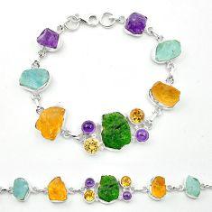 925 silver green chrome diopside rough aquamarine rough tennis bracelet m53610