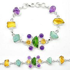 Green chrome diopside rough aquamarine rough 925 silver tennis bracelet m53612