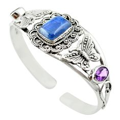 925 silver natural blue kyanite amethyst adjustable bangle jewelry m53615