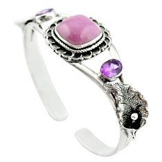 Natural purple phosphosiderite (hope stone) 925 silver adjustable bangle m53616
