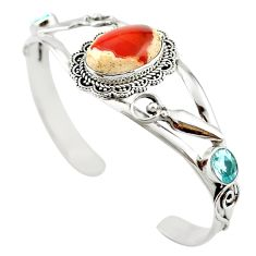 Natural multi color mexican fire opal 925 silver adjustable bangle m53617