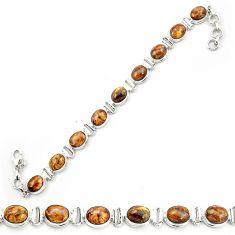 Natural brown pietersite (african) 925 sterling silver tennis bracelet m53645