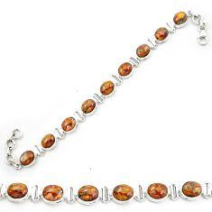 925 sterling silver natural brown pietersite (african) tennis bracelet m53647