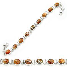 Natural brown pietersite (african) 925 sterling silver tennis bracelet m53648