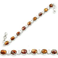 Natural brown pietersite (african) 925 sterling silver tennis bracelet m53651