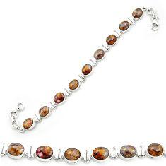 925 sterling silver natural brown pietersite (african) tennis bracelet m53658