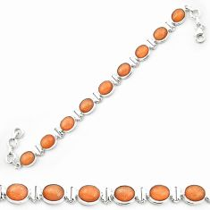 Natural orange sunstone (hematite feldspar) 925 silver tennis bracelet m53661