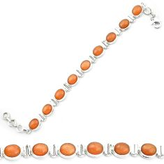925 silver natural orange sunstone (hematite feldspar) tennis bracelet m53664