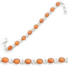 Natural orange sunstone (hematite feldspar) 925 silver tennis bracelet m53666