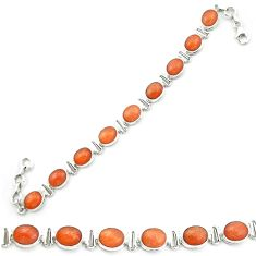 Natural orange sunstone (hematite feldspar) 925 silver tennis bracelet m53667