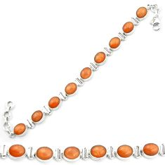 Natural orange sunstone (hematite feldspar) 925 silver tennis bracelet m53668