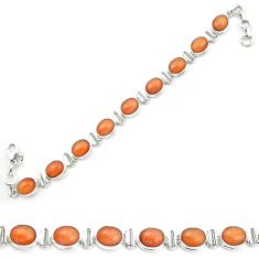 925 silver natural orange sunstone (hematite feldspar) tennis bracelet m53669