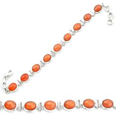 Natural orange sunstone (hematite feldspar) 925 silver tennis bracelet m53670