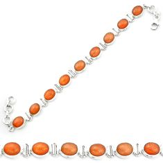Natural orange sunstone (hematite feldspar) 925 silver tennis bracelet m53672