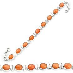 Natural orange sunstone (hematite feldspar) 925 silver tennis bracelet m53673