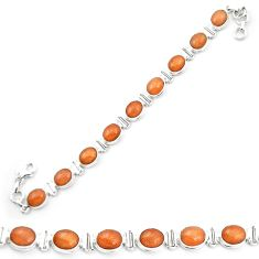 925 silver natural orange sunstone (hematite feldspar) tennis bracelet m53674