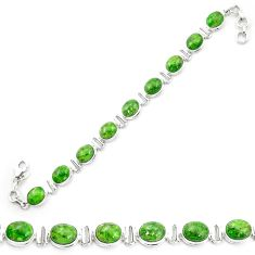 Natural green chrome diopside 925 sterling silver tennis bracelet m53677